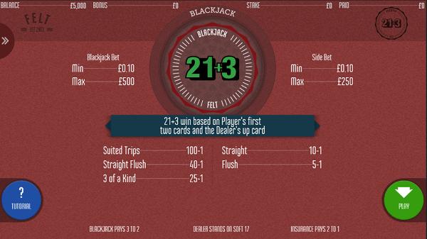 21 - 3 blackjack