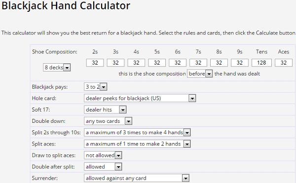 Wizard Of Odds Blackjack Strategies Trainers Charts Calculators
